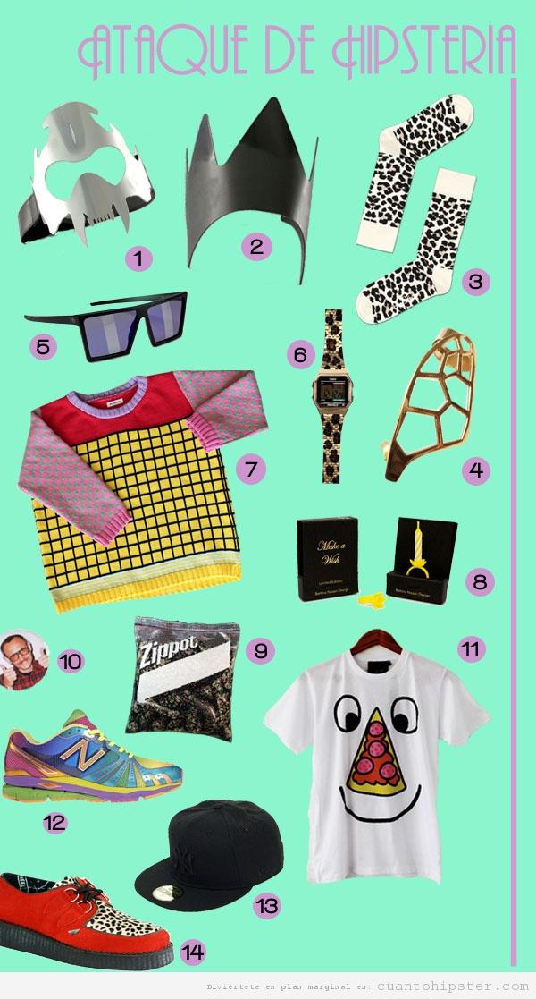 Página de revista con ropa y complementos de look hipster