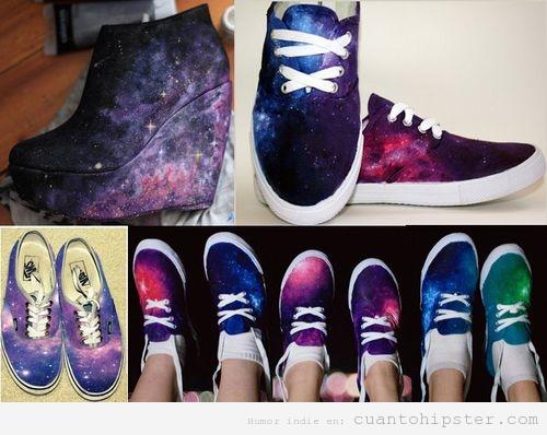Zapatillas y zapatos plataforma hipster con print cósmico