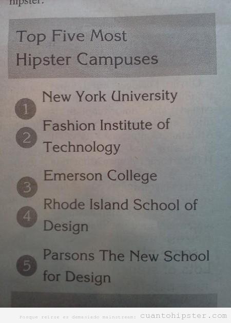 Top 10 de los campus de universidad de estados unidos más hipsters