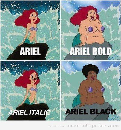 meme Sirenita Ariel bold, italica, black