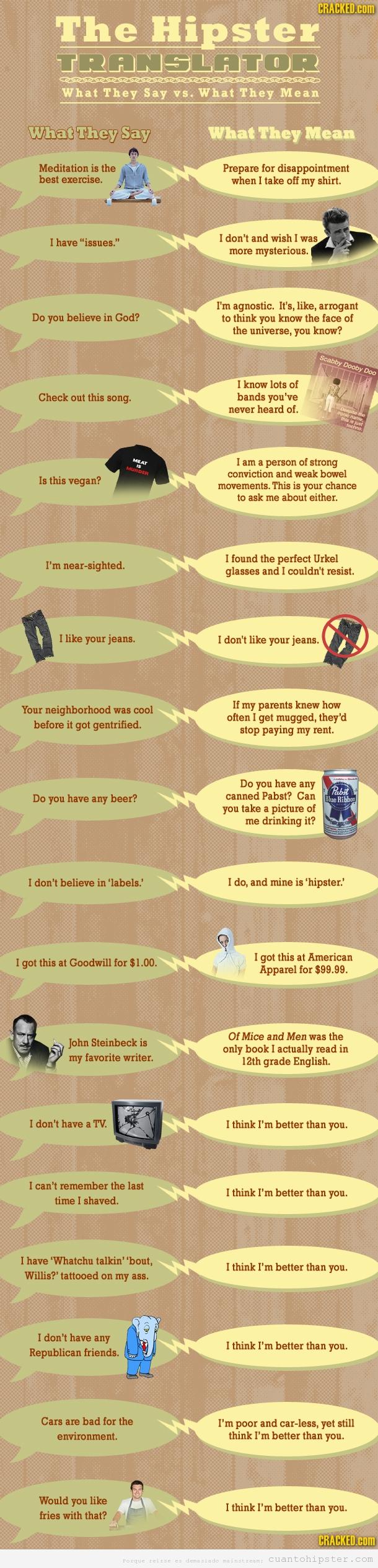 Guía para traducir hipsters, lo que quieren decir realmente