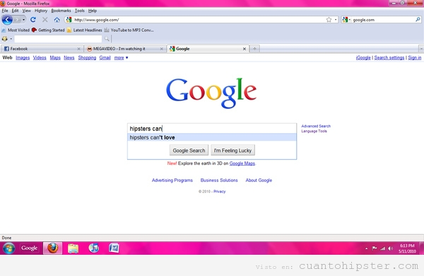 """Si buscas en gogle """"hipsters can't"""""""