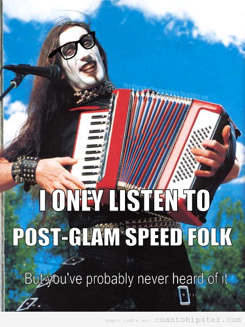 Meme hipster de un gotico gafapasta tocando acordeón