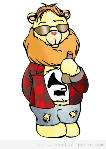 Dibujo hipster de un oso indie