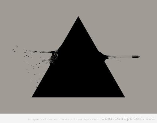 Triángulo hipster atravesado por una bala