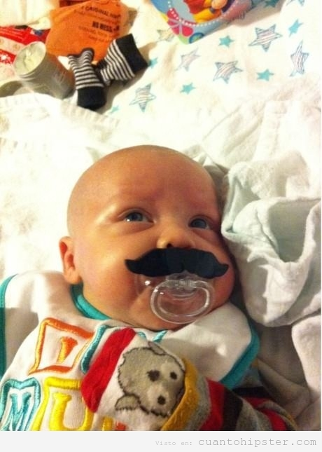 Chupete hipster moustache
