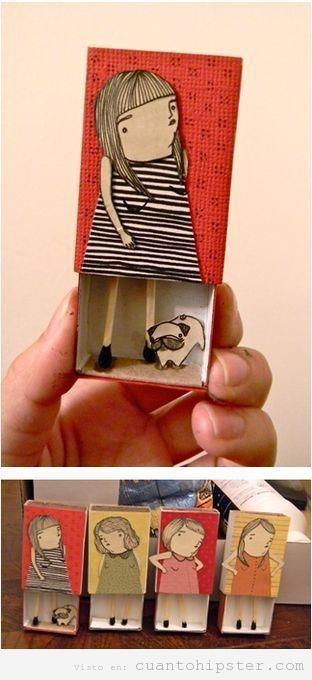 Caja de cerillas decorada con niñas y perros