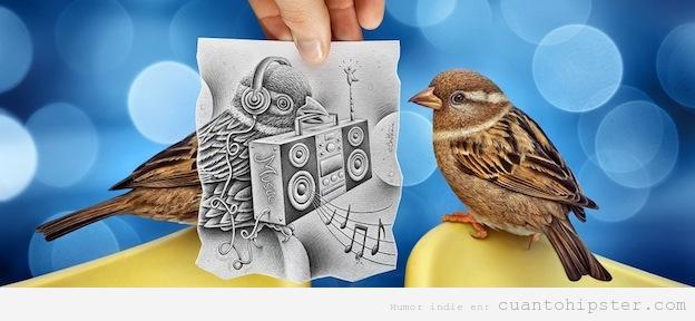 Foto y dibujo bonito de un pájaro con un loro en el pico