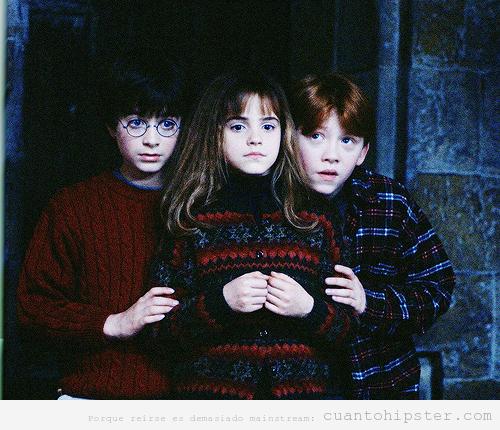 Protagonistas de Harry Potter en la primera película con jersey de lana hipster