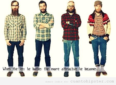 Chicos con look hipster, camisa de franela y barbas