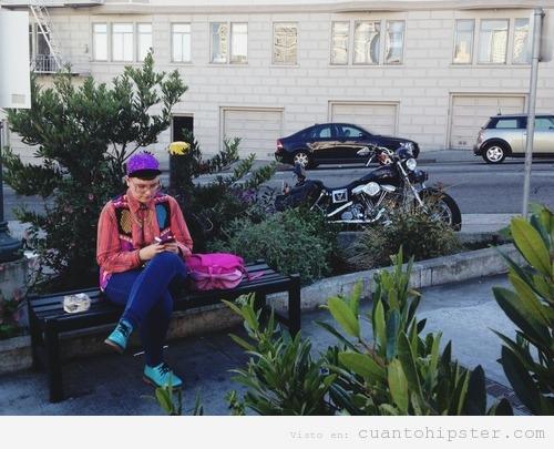 Yayahipster con look de los 80 en San Francisco