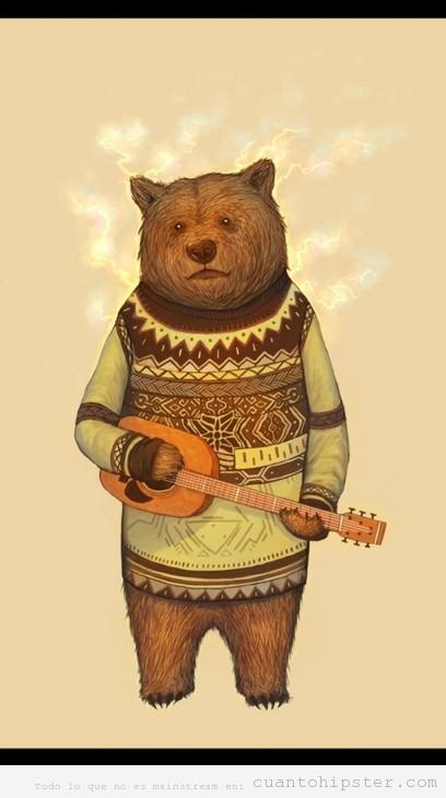 Ilustración de un oso hipster con jersey de lana y ukelele