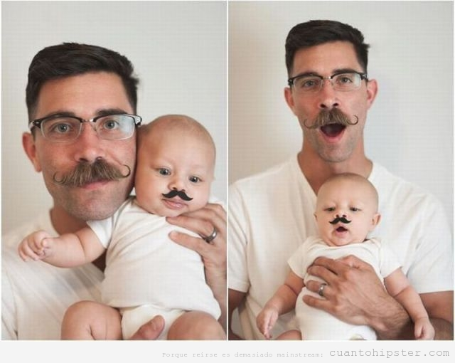 Foto graciosa de un padre hip`ster con un beb con bigote