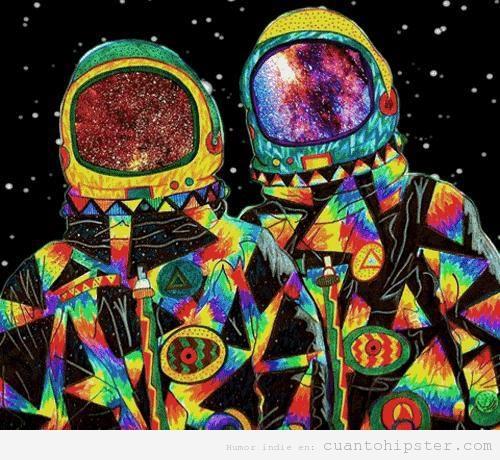 Ilustración astronautas hipsters
