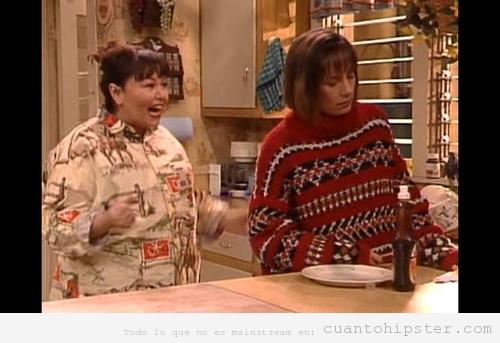 Jackie de la serie Roseanne con jersey de lana hipster