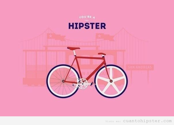 Cartel con una feria y una biciclta, you're a hipster