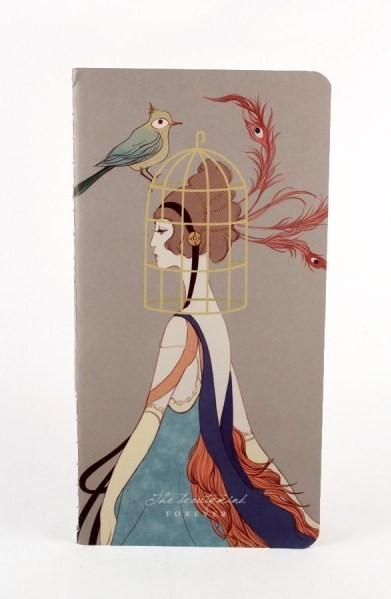 libreta-vintage-de-mujer-y-jaula-de-pájaro