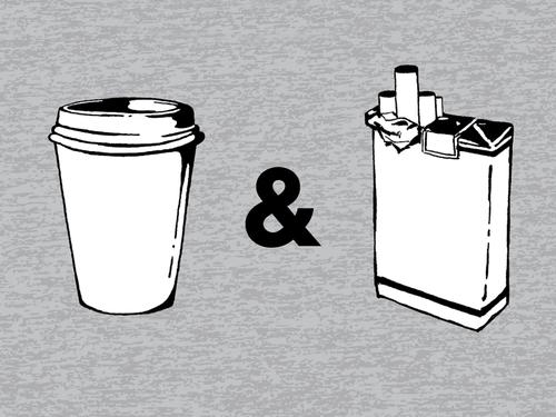 Ilustración de café y cigarro,. coffee and cigarettes