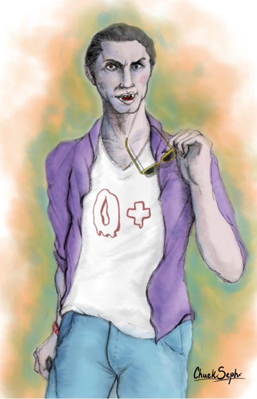 Ilustración de Drácula Hipster by Chuck Seph