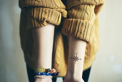 Tatuaje hipster, los puntos cardinales en la muñeca
