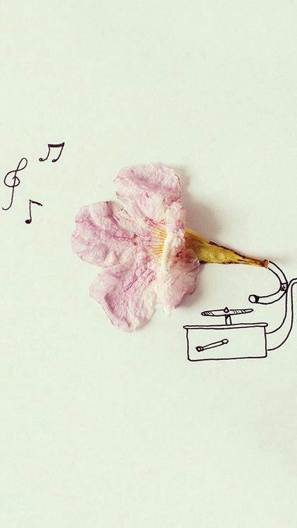 Dibujo bonito de un gramófono con una flor campanilla