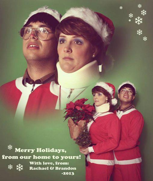 Felicitación pareja Navidad estilo retro