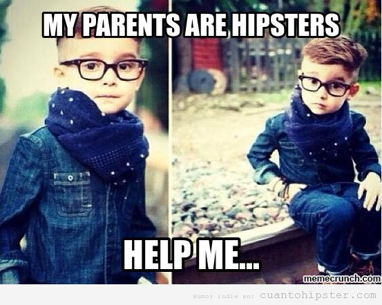 Meme gracioso de un niño con padres hipsters