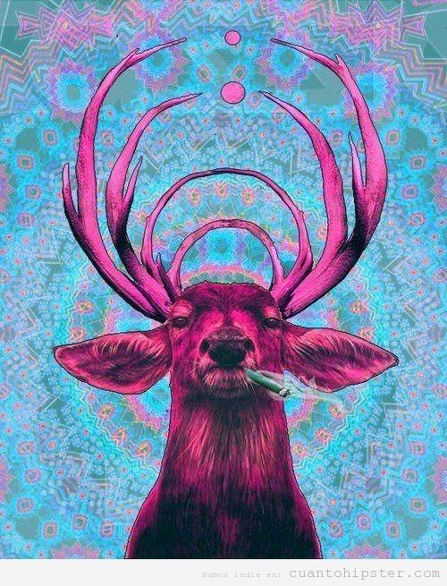 Fotomontaje de un ciervo hipster y fumeta