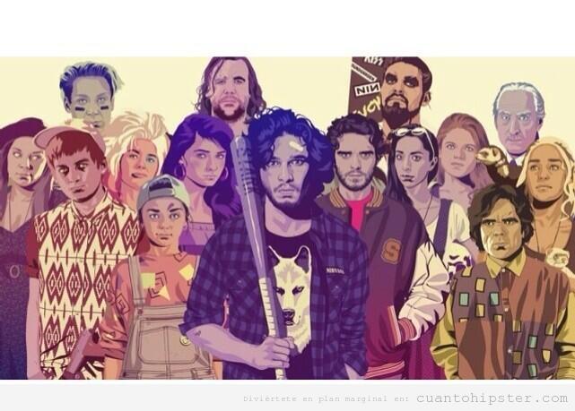 Ilustración con los personajes de Juego de Tronos versión hipster