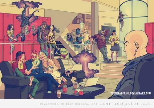 Ilustración de superhéroes en Hipsterlad
