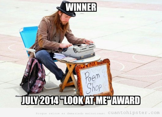 Meme de un hipster que vender poemas en máquina de escribir