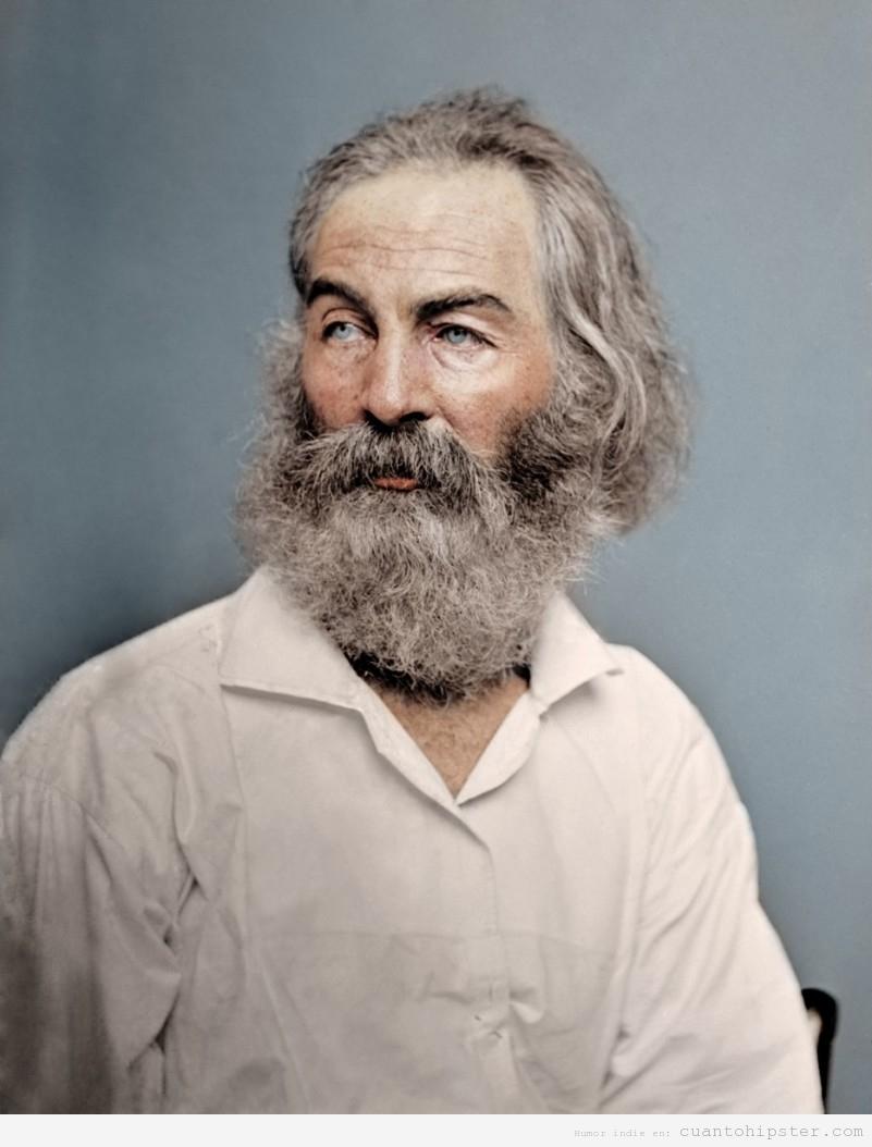 El poeta Walt Whitman en 1868 con barba hipster