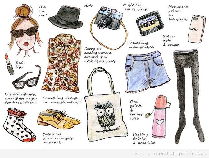 Dibujo con 14 elementos para conseguir un look de chica hipster