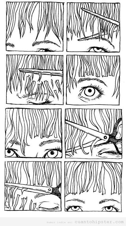 ilustración de cómo cortarse flequillo a uno mismo