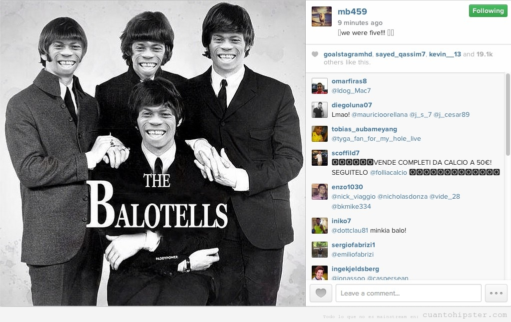Fotomontaje The Beatles con futbolista Balotelli