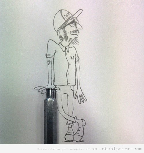 Dibujo de un chico hipster