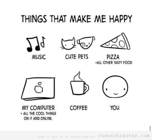 Dibuo de cosas que hacen feliz a una chica adolescente hipster