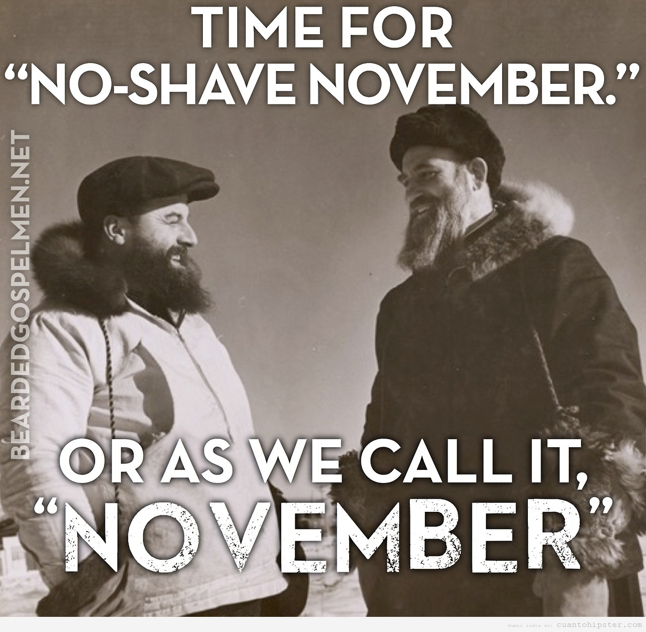 Foto vintage de dos hombrs rudos con barba