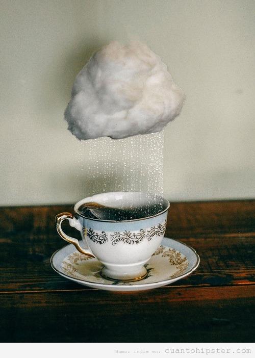 Fotomontaje bonito con una taza de té y nube de lluvia