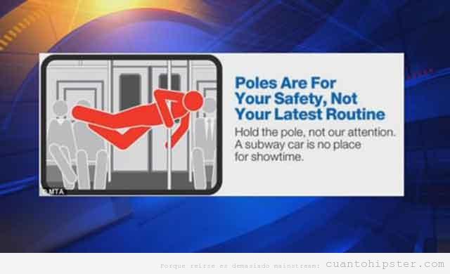 Pegatinas  en metro de NY sobre el uso de las barras
