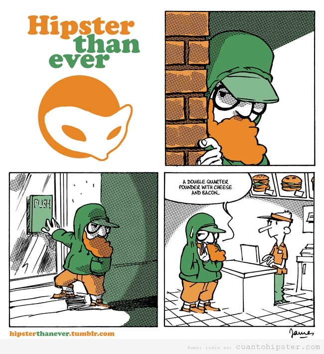 Viñeta graciosa hipster en hamburguesería