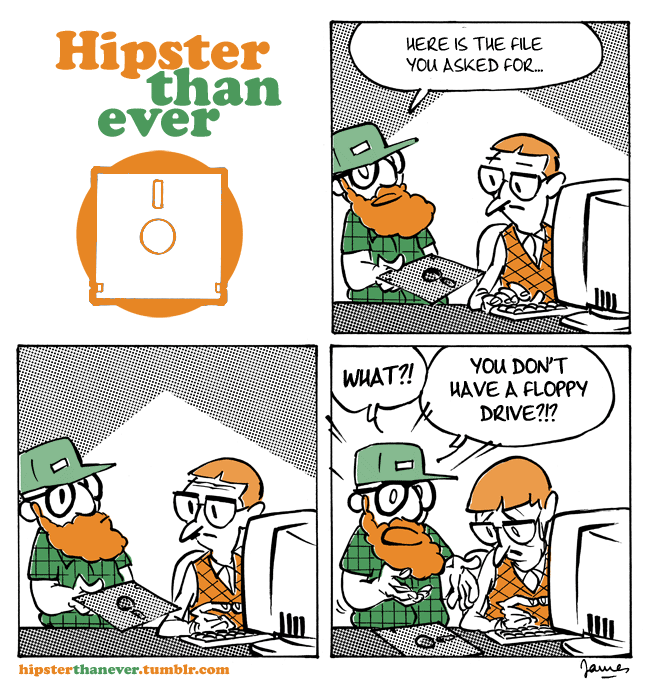 Humor gráfico, hipster con Floppy Disk