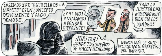 Viñeta graciosa Estrella muerte hipster por Liniers