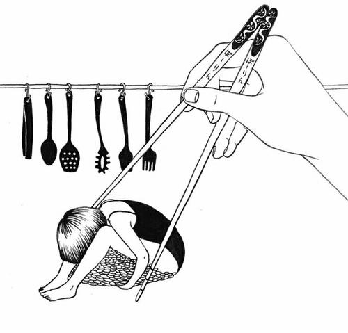 Ilustración bonita, coger persona con palillos chinos