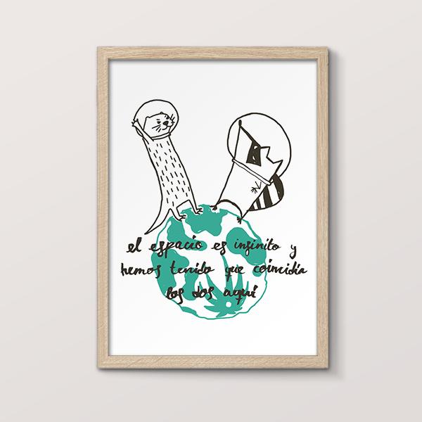 Comprar láminas decorativos dibujos animal mapache y nutria