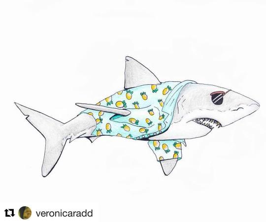Ilustración de un tiburón hipster
