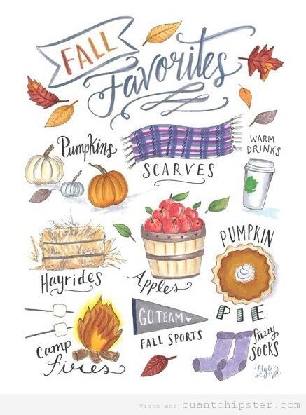 Ilustración bonita otoño hipster