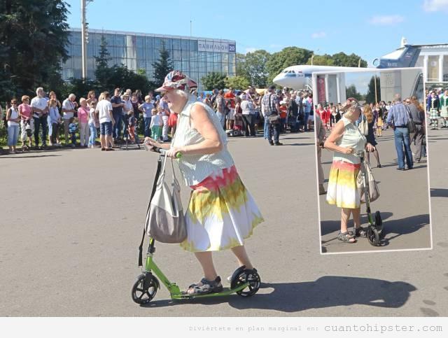 Foto divertida abuela moderna en patinete, yayahipster