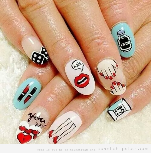 Nail Art con dibujos hipsters