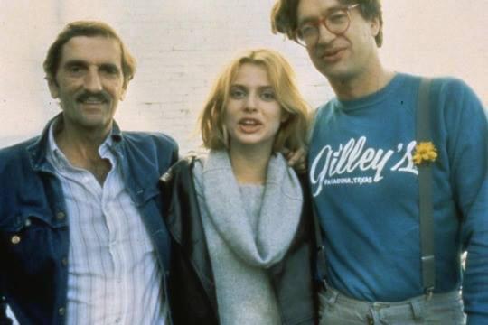 Foto de Harry Dean Stanton, Nastassja Kinski y Wim Wenders en el rodaje de PARIS, TEXAS.